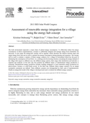 Assessment of renewable energy integration for a village using the