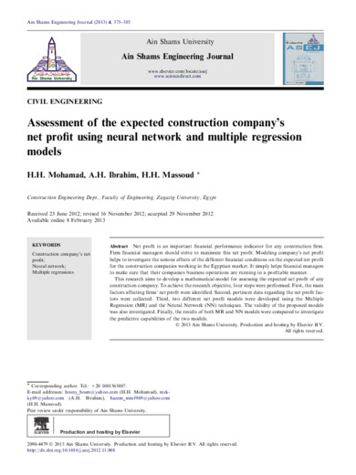 Assessment of the expected construction company's net profit using neural