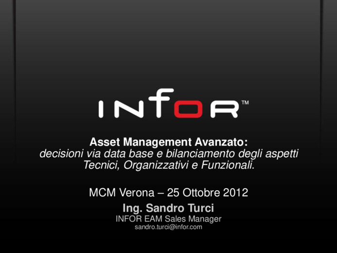 Asset Management Avanzato: decisioni via database e bilanciamento degli aspetti