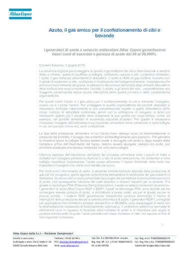 Atlas Copco: Azoto, il gas amico per il confezionamento di