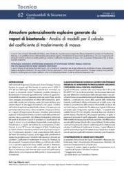 Atmosfere potenzialmente esplosive generate da vapori di bioetanolo - Analisi