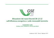 Attuazione dei nuovi Decreti 28-12-12 sull'efficienza energetica e sulle rinnovabili