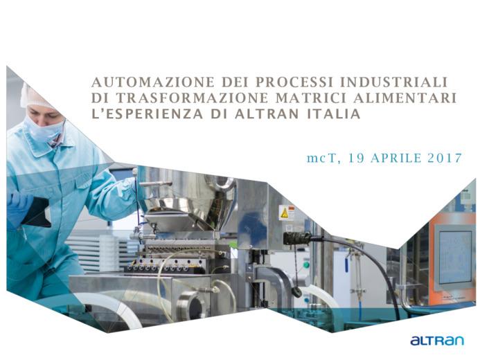 Automazione dei processi industriali di trasformazione industria alimentare: l'esperienza di