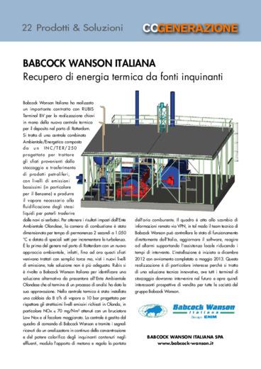 Babcock Wanson ItalIana. Recupero di energia termica da fonti inquinanti