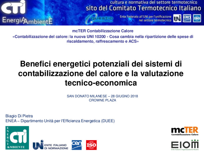 Benefici energetici potenziali dei sistemi di contabilizzazione del calore e