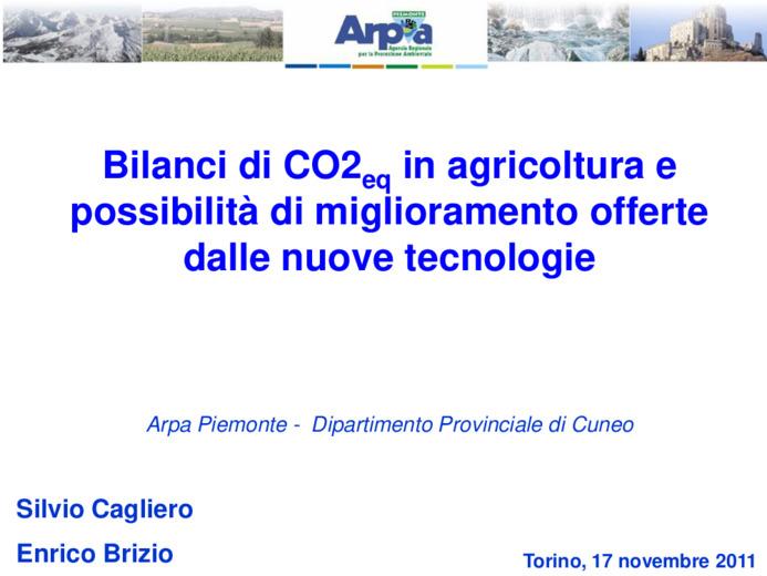 Bilanci di CO2eq in agricoltura e possibilità di miglioramento offerte