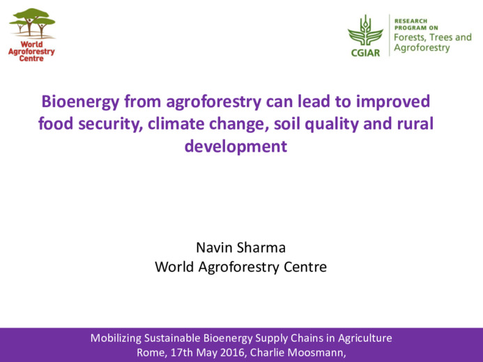 Bioenergy from agroforestry can lead to improved food security, climate