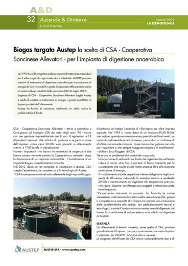 Biogas targato Austep la scelta di CSA - Cooperativa Soncinese