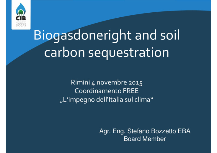 Biogasdoneright and soil carbon sequestration