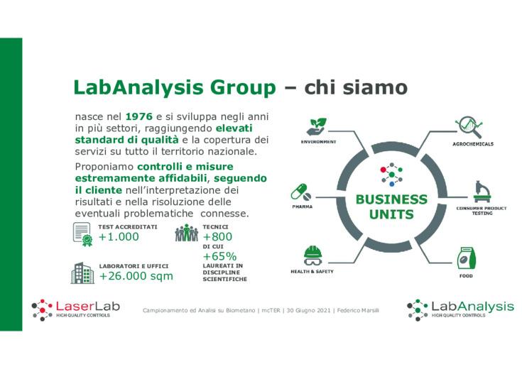 Campionamento ed analisi su biometano  l