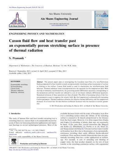 Casson fluid flow and heat transfer past an exponentially porous