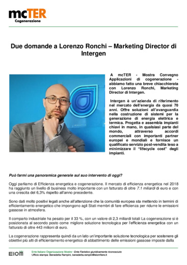 Cogenerazione: due domande a Lorenzo Ronchi - Marketing Director di Intergen