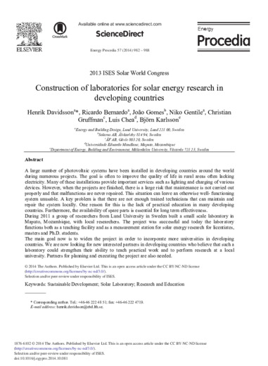 Construction of laboratories for solar energy research in developing countries