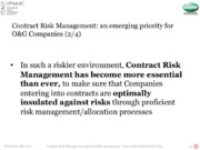 Contract Risk Management and portfolio management: issues and trends in