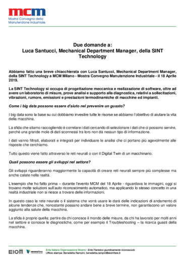 Due domande a: Luca Santucci, Mechanical Department Manager, della SINT Technology
