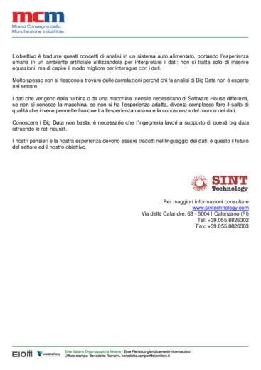 Due domande a: Luca Santucci, Mechanical Department Manager, della SINT