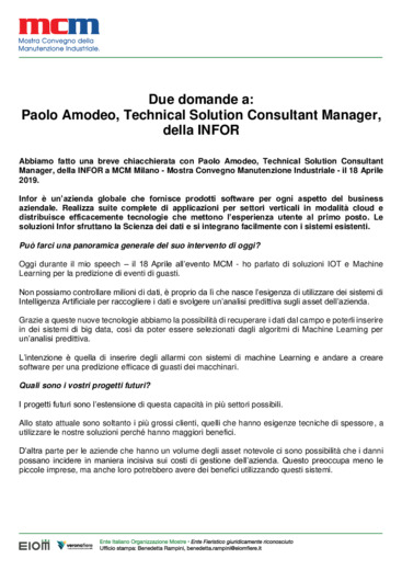 Due domande a: Paolo Amodeo - Technical Solution Consultant Manager - della INFOR