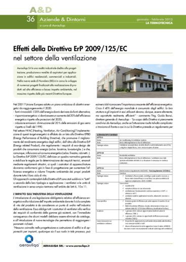 Effetti della Direttiva ErP 2009/125/EC nel settore della ventilazione