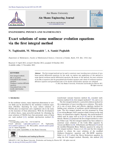 Exact solutions of some nonlinear evolution equations via the first