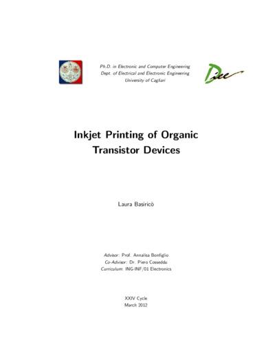 Inkjet printing of organic transistor devices