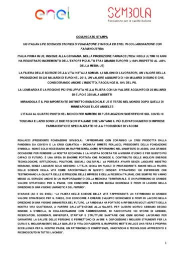 100 Italian Life Sciences Stories di Fondazione Symbola ed Enel