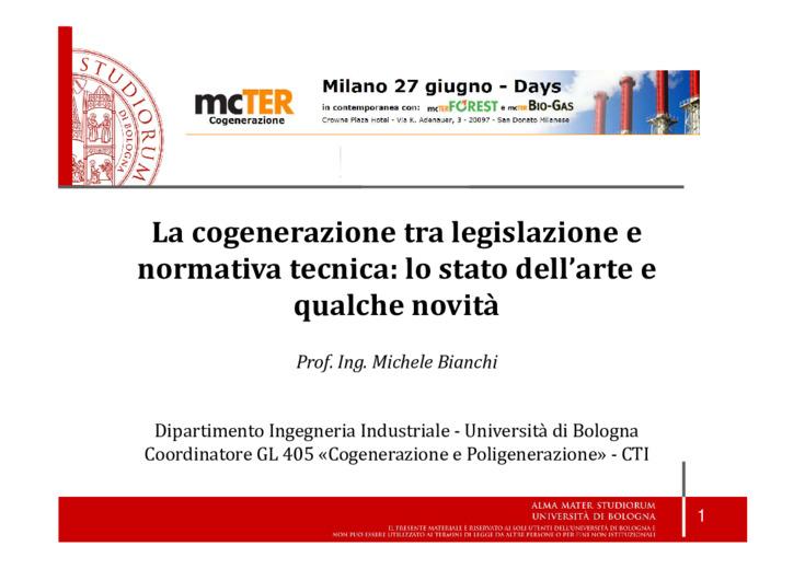 La cogenerazione tra legislazione e normativa tecnica: lo stato dell'arte