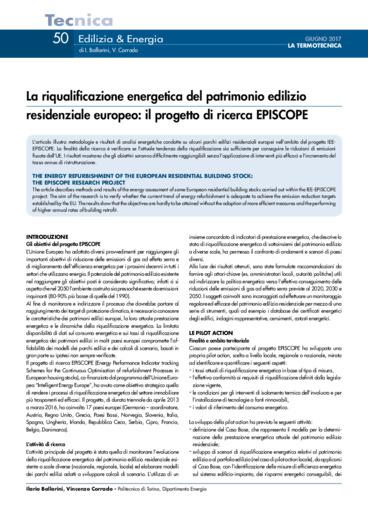 La riqualificazione energetica del patrimonio edilizio residenziale europeo: il progetto