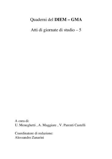 Meccanica applicata - Quinta giornata di studio Ettore Funaioli