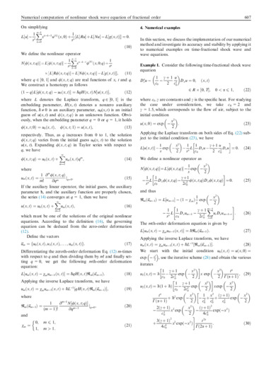 Numerical computation of nonlinear shock wave equation of fractional order