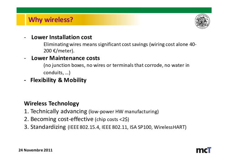 Reti wireless per il controllo critico di processo - tecnologie