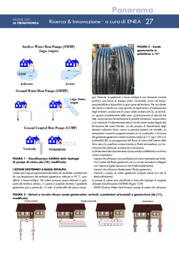 Sistemi geotermici a bassa entalpia: impianto sperimentale realizzato nel C.R.