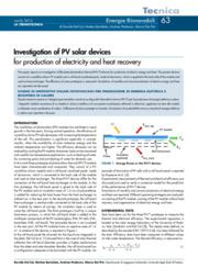 Studio di dispositivi solari fotovoltaici per produzione di energia elettrica