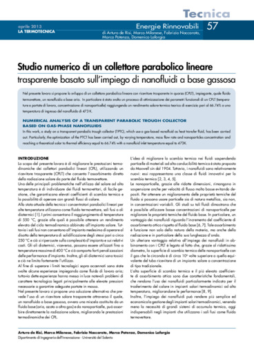 Studio numerico di un collettore parabolico lineare trasparente basato sull