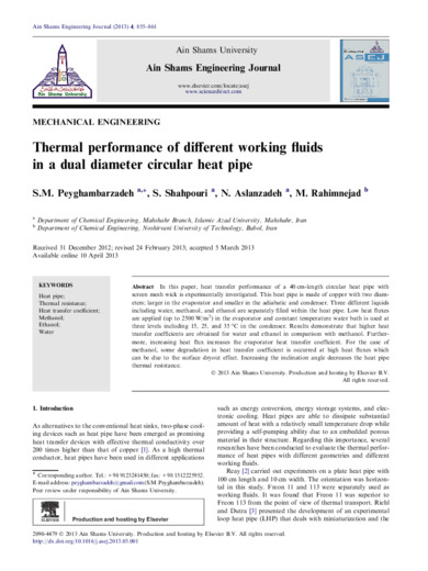 Thermal performance of different working fluids in a dual diameter