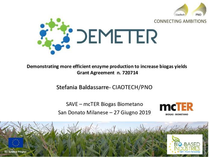 Un enzima per migliorare la resa di biogas, progetto DEMETER,